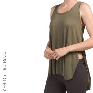 ON THE ROAD Knit SleeveLess Olive Green Tank Top